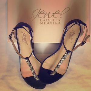 New Badgley Mischka Black Satin Rhinestone Sandals